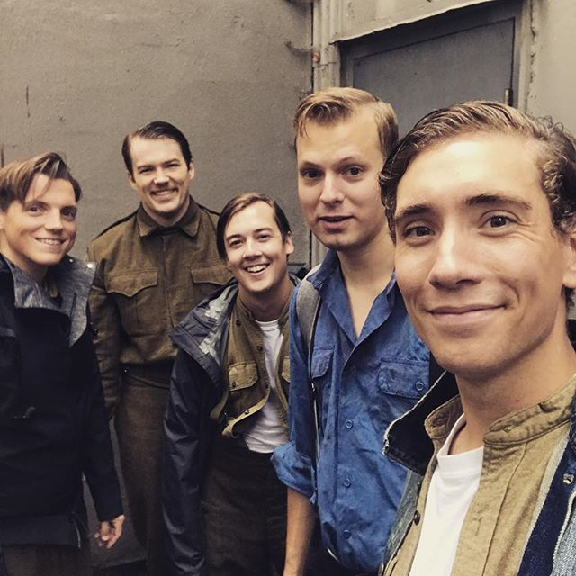 Some exciting news may be coming around the corner very soon. Will you be seeing these smiling faces on stage again soon ... maybe? #asoldierswar #canadian #canada #theatre #touring #remount #play #veterans #remembrance #wwii #