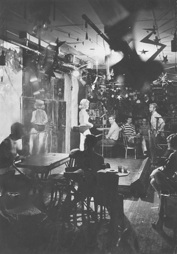 The Caffé Cino during a rehearsal for Dames at Sea, Spring, 1966