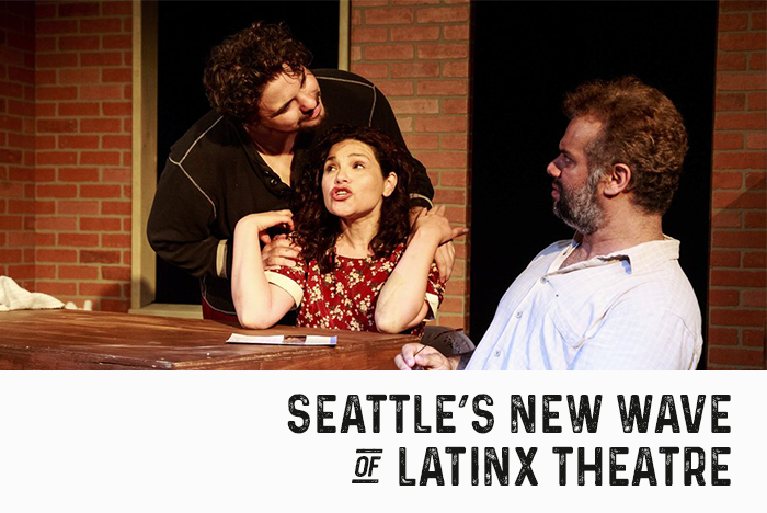 Marco Voli, left, Monica Cortes Viharo and Fernando Cavallo perform during the preview of ese Teatro's  Mud . (Erika Schultz/The Seattle Times)