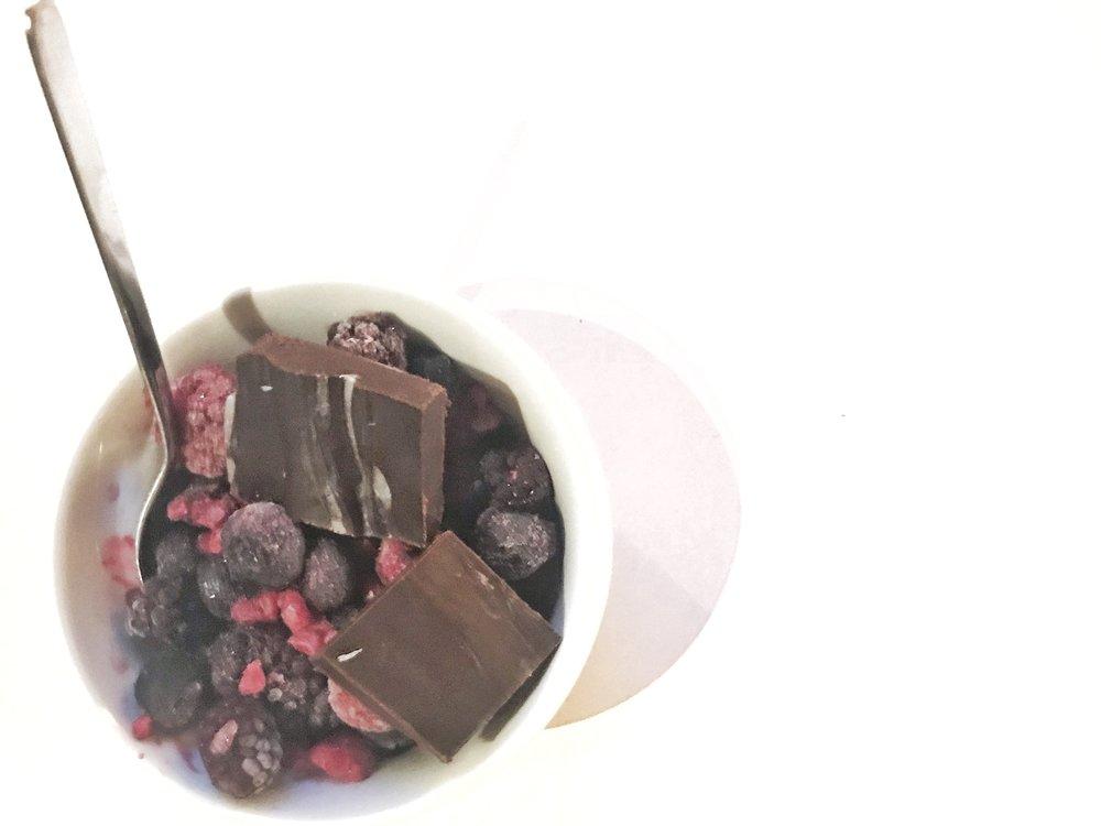 AIP GAPS Carob Coconut Fudge with Frozen Fruit