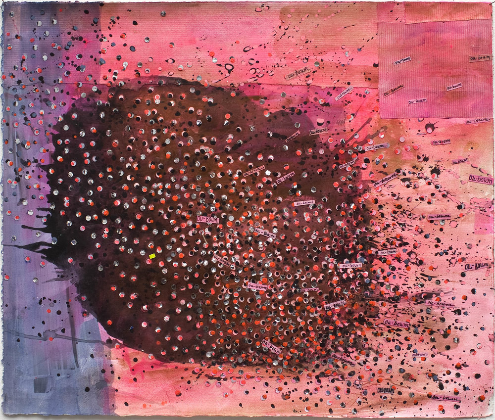 "OU-BOUM , 2010 MIXED MEDIA ON PAPER, 22"" x 26"" (HAS104)"