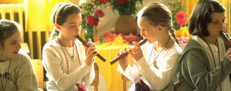 Recorder is studied after the diatonic ear is developed and recorder instruction introduces how to read music notation.