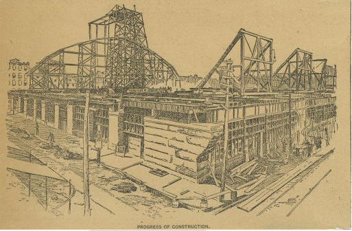 A sketch depicting the Reading Viaduct under construction.