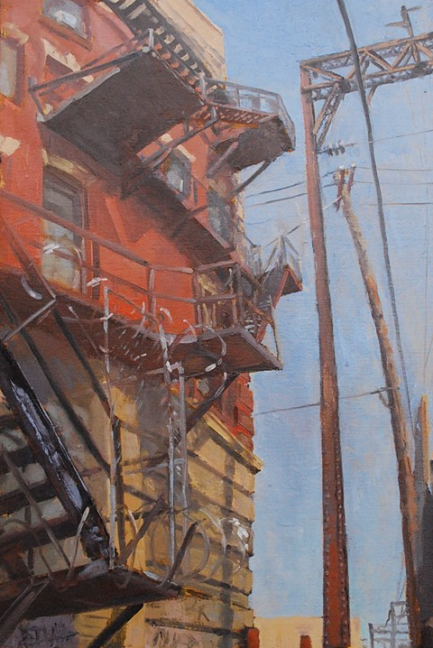 North Fire Escape at 915 Spring Garden Street,2009,oil on linen Charles Newman