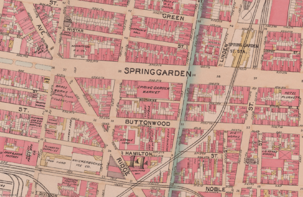 Land Use map of Spring Arts circa 1895.