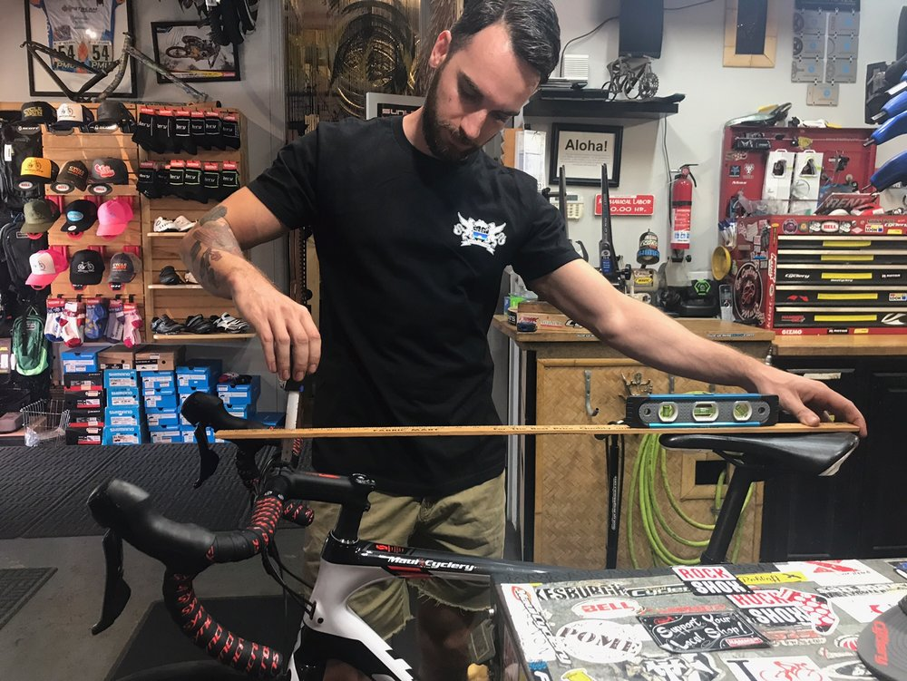 Bonus points - If you want to measure the drop from your seat to your handlebars use a yard stick or something long and straight. Hold it level on the seat and measure from the yard stick to the top of the bars.