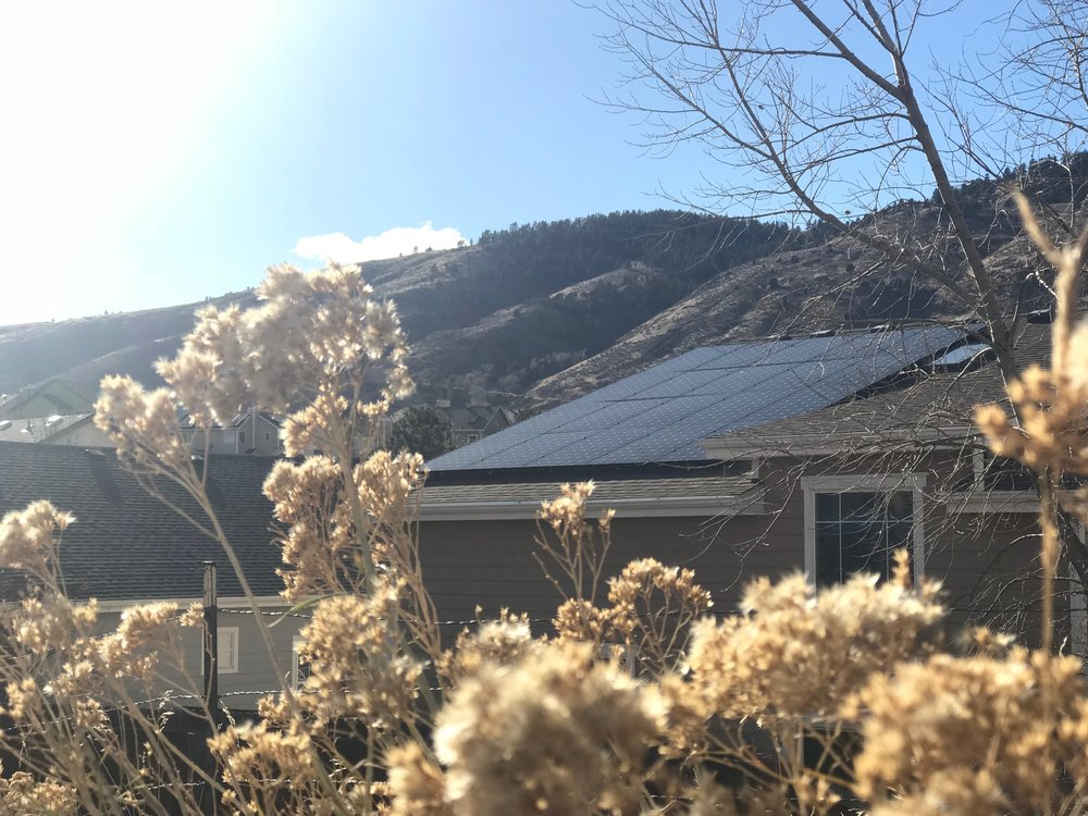 A beautiful shot of this reviewers new solar home, in Golden, CO. What a backdrop!
