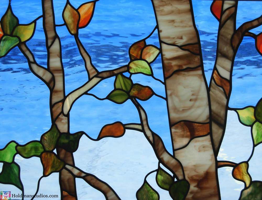 Holdman Studios stained glass window aspen trees leaves crop