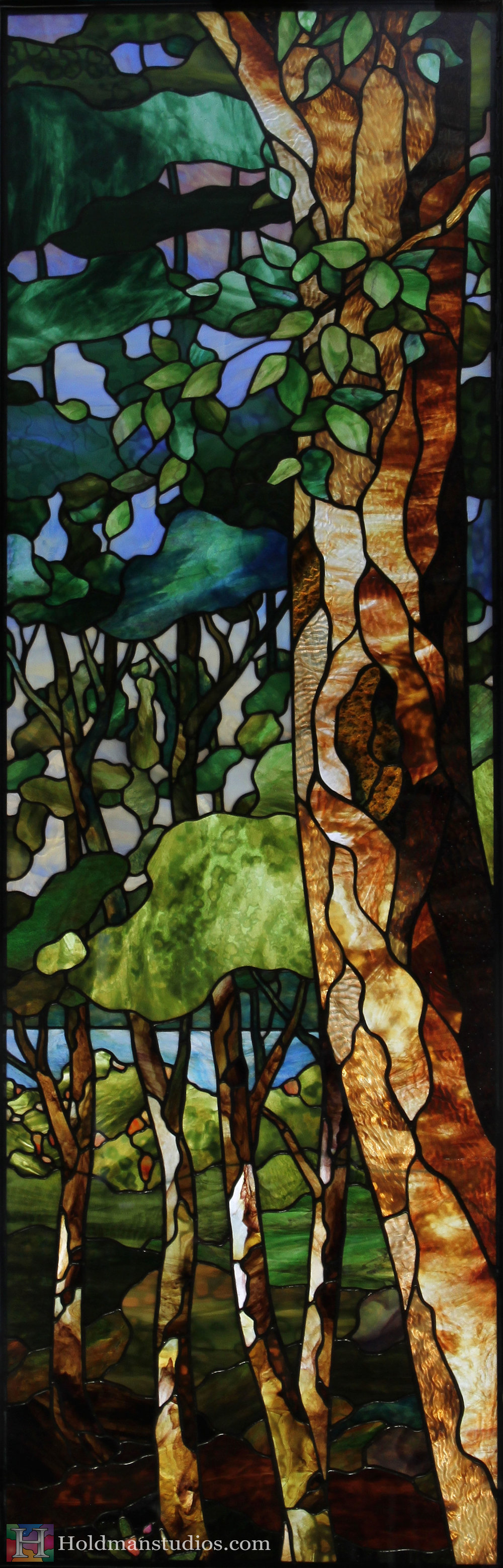 Holdman_Studios_Stained_Art_Glass_LDS_Mormon_Temple_Boise_Idaho_Baptistry_Window_Crop_Forest_Trees_Leaves.jpg
