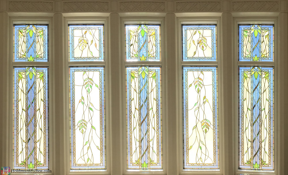 Holdman_Studios_Stained_Art_Glass_Payson_Utah_Lobby_Desk_Temple_Apple_Blossom_Leaves_DNA_Spiral_Windows_Crop.jpg
