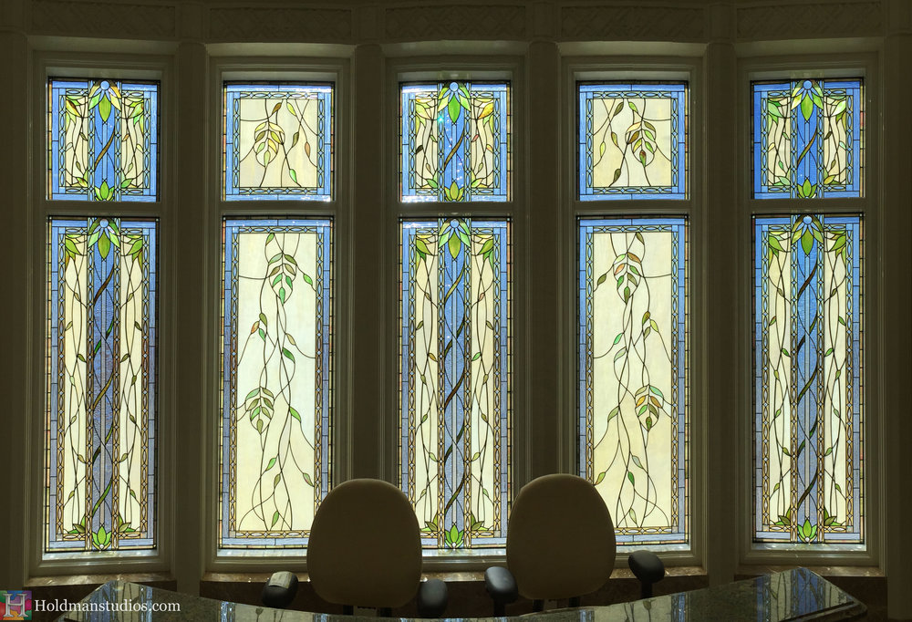Holdman_Studios_Stained_Art_Glass_Payson_Utah_Lobby_Desk_Temple_Apple_Blossom_Leaves_DNA_Spiral_Windows.jpg