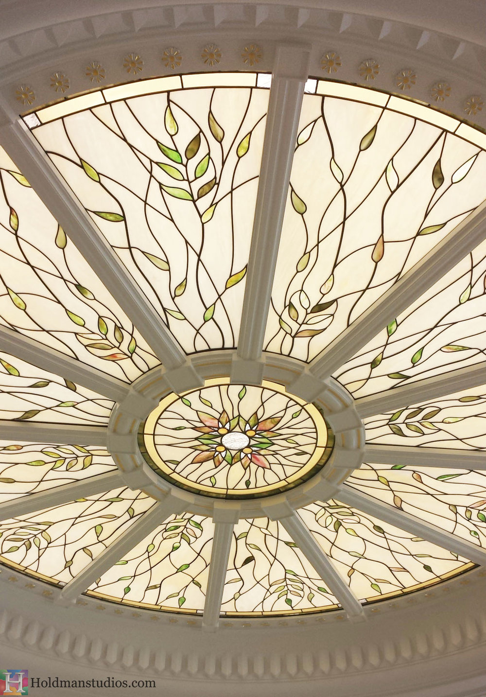 Holdman_Studios_Stained_Art_Glass_Payson_Utah_Temple_Apple_Blossom_Leaves_Skylight_Rose_Window_Closeup_Crop.jpg