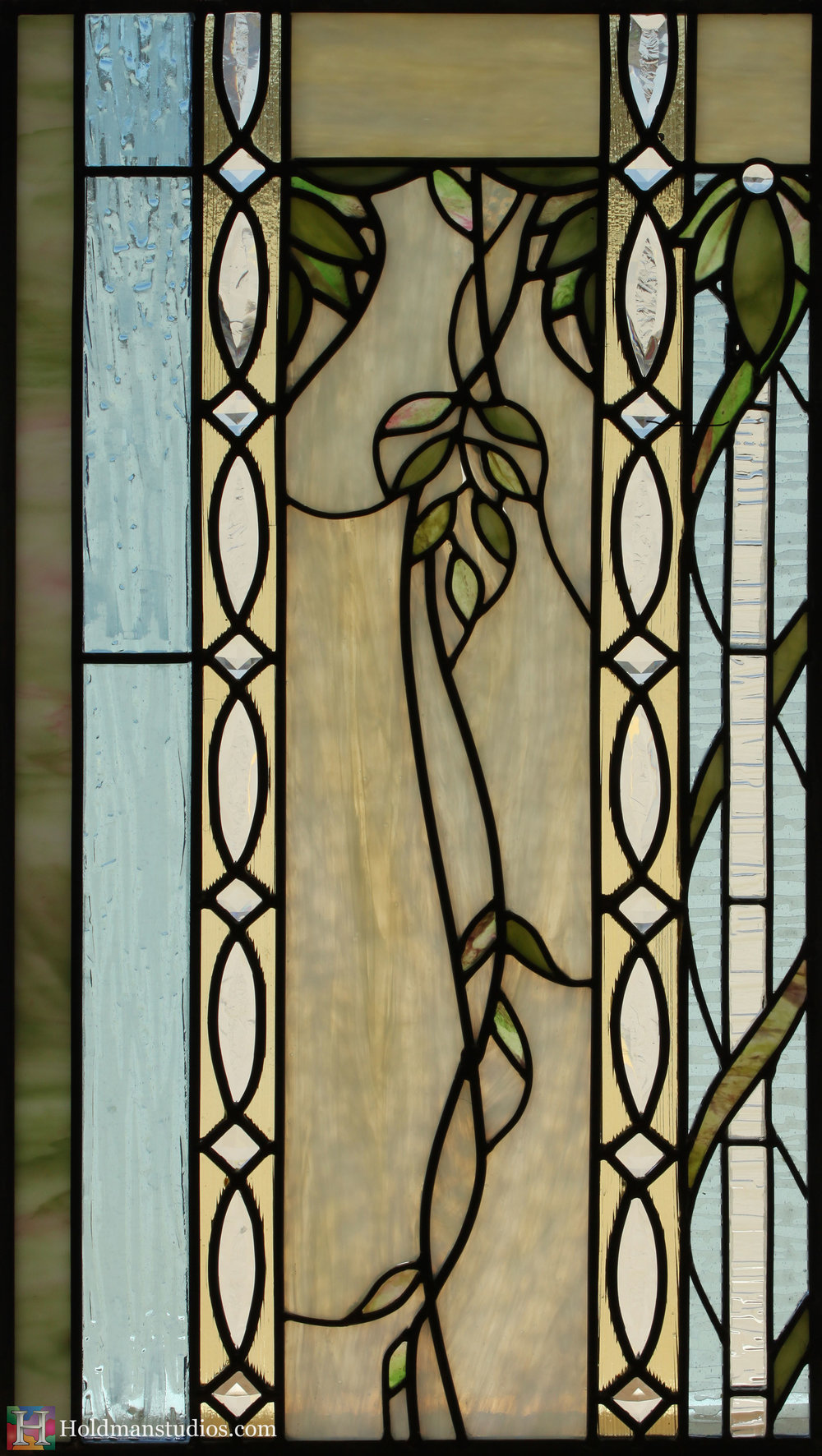 Holdman_Studios_Stained_Art_Glass_Payson_Utah_Temple_Apple_Leaves_DNA_Spiral_Sample_Window_Closeup.jpg