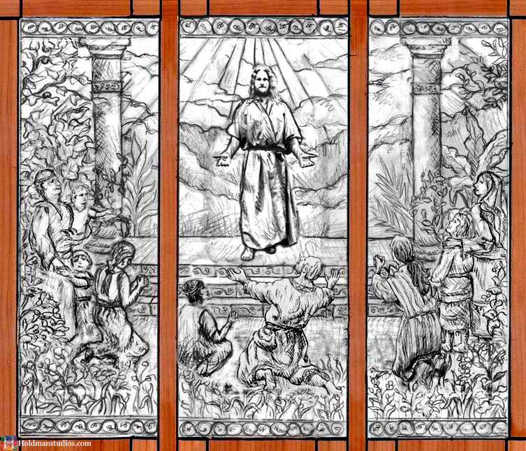 Holdman-Studio-Stained-Art-Glass-Mormon-LDS-Sao-Paulo-Brazil-Temple-Artist-Christ-Comes-to-America-Drawing-Sketch.jpg