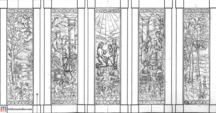 Holdman-Studio-Stained-Art-Glass-Mormon-LDS-Sao-Paulo-Brazil-Temple-Christ-Comes-to-America-Artist-1st-Drawing-Sketch.jpg