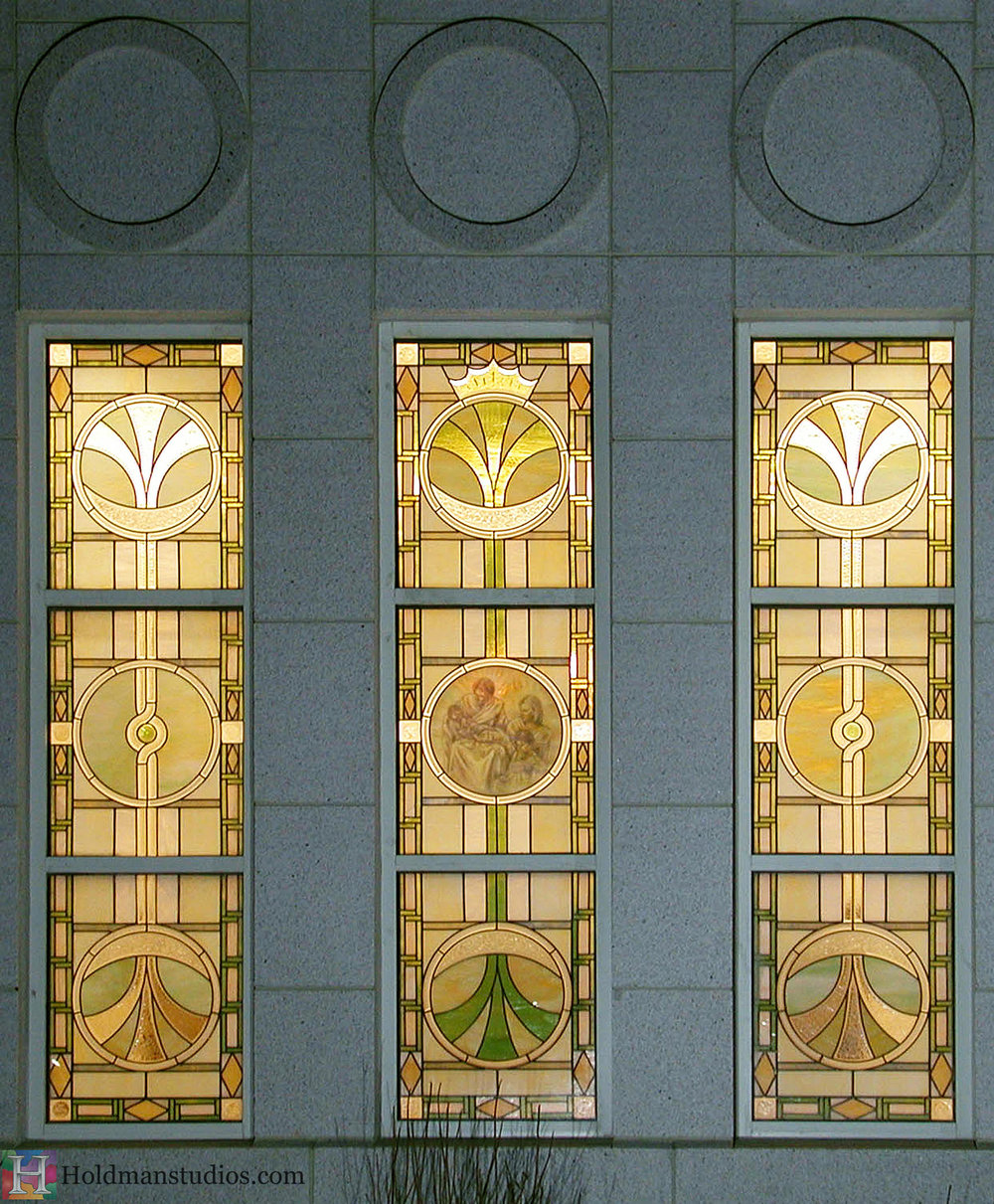 Holdman-Studios-LDS-Mormon-Temple-Winter-Quarters-Omaha-Nebraska-Eternal-Family-Trees-Circle-Sun-Moon-Stars-Crown-Exterior-Windows.jpg