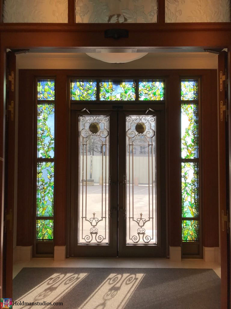 Holdman-Studios-Stained-Etched-Glass-Paris-LDS-Temple-Cornflower-Blue-Lily-Flowers-Buds-Leaves-Entryway-Windows.jpg