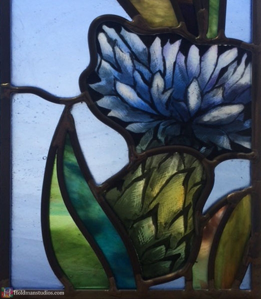 Holdman-Studios-Stained-Glass-Paris-LDS-Temple-Cornflower-Blue-Lily-Flowers-Leaves-Closeup-Window.jpg