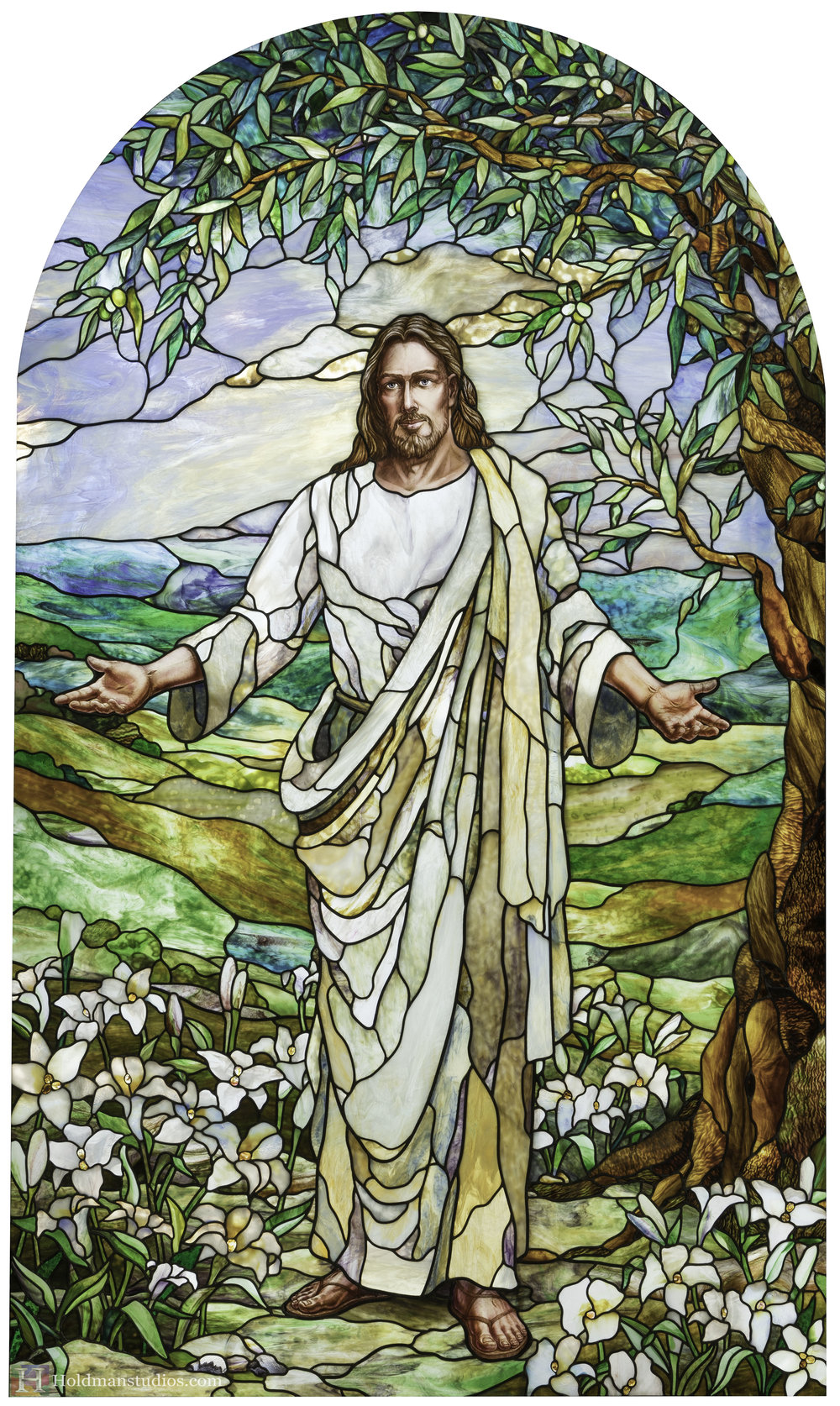 Holdman-Studios-Stained-Glass-Paris-LDS-Temple-Welcoming-Center-Jesus-Christ-Madonna-Lily-Flowers-Leaves-Tree-Sky-Window.jpg
