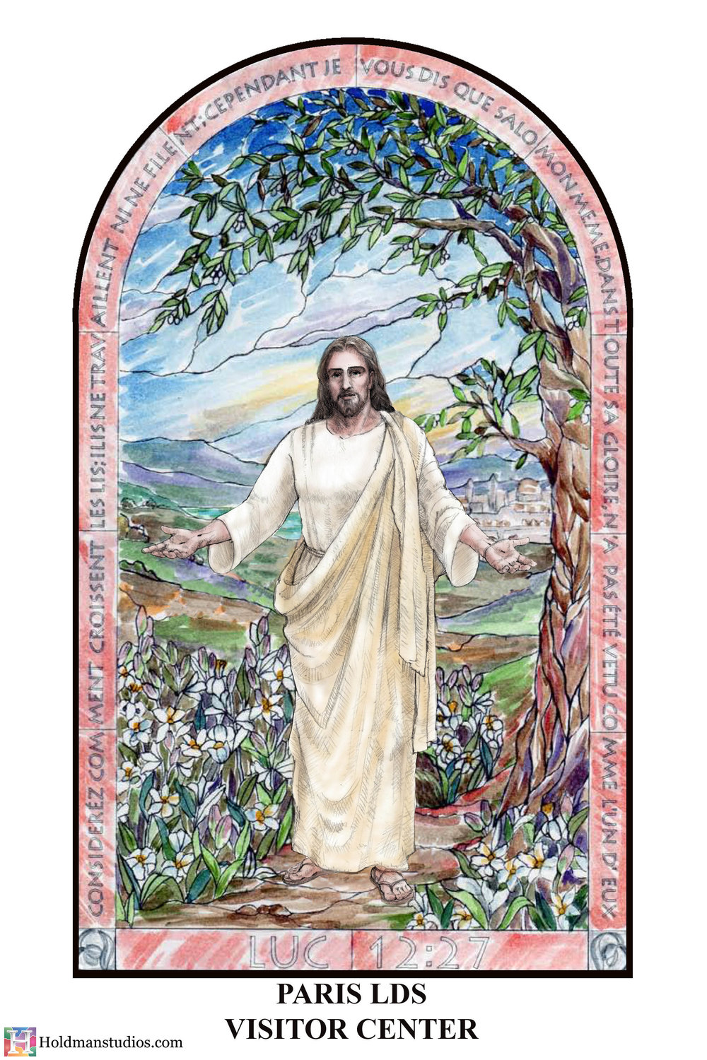 Holdman-Studios-Stained-Glass-Paris-LDS-Temple-Welcoming-Center-Jesus-Christ-Madonna-Lily-Flowers-Leaves-Tree-Sky-Sketch.jpg