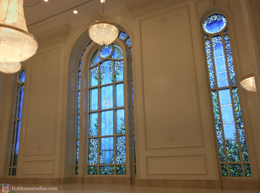Holdman-Studios-Paris-LDS-Temple-Stained-Glass-Madonna-Cornflower-Blue-Lily-Flowers-Leaves-Sun-Windows-Chandeliers.jpg