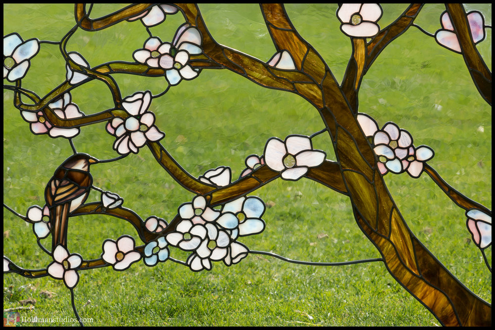 Holdman-Studios-Stained-Glass-Window-Cherry-Tree-Branches-Blossom-Flowers-Brown-Bird-Sparrow-Grass.jpg
