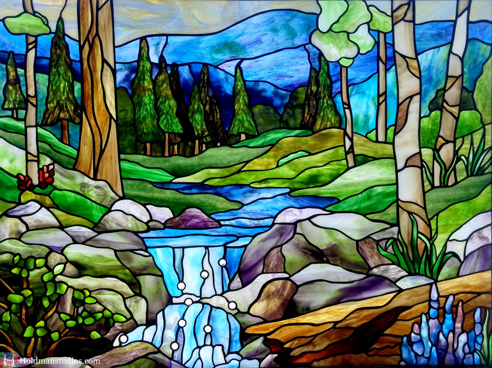 Holdman-Studios-Stained-Glass-Sky-Clouds-Aspen-Pine-Trees-Log-Flowers-Leaves-Plants-River-Mountains-Rocks.jpg
