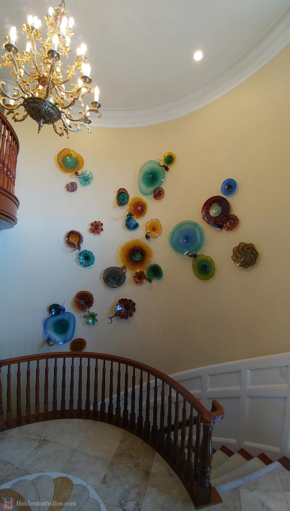 holdman-studios-hand-blown-glass-platters-bowls-tendrils-stair-wall-display-right-sideview.jpg