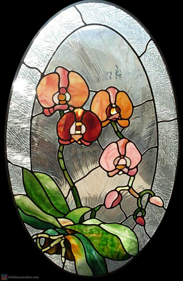 Holdman-studios-stained-textured-glass-oval-window-orchid-flowers-leaves.jpg