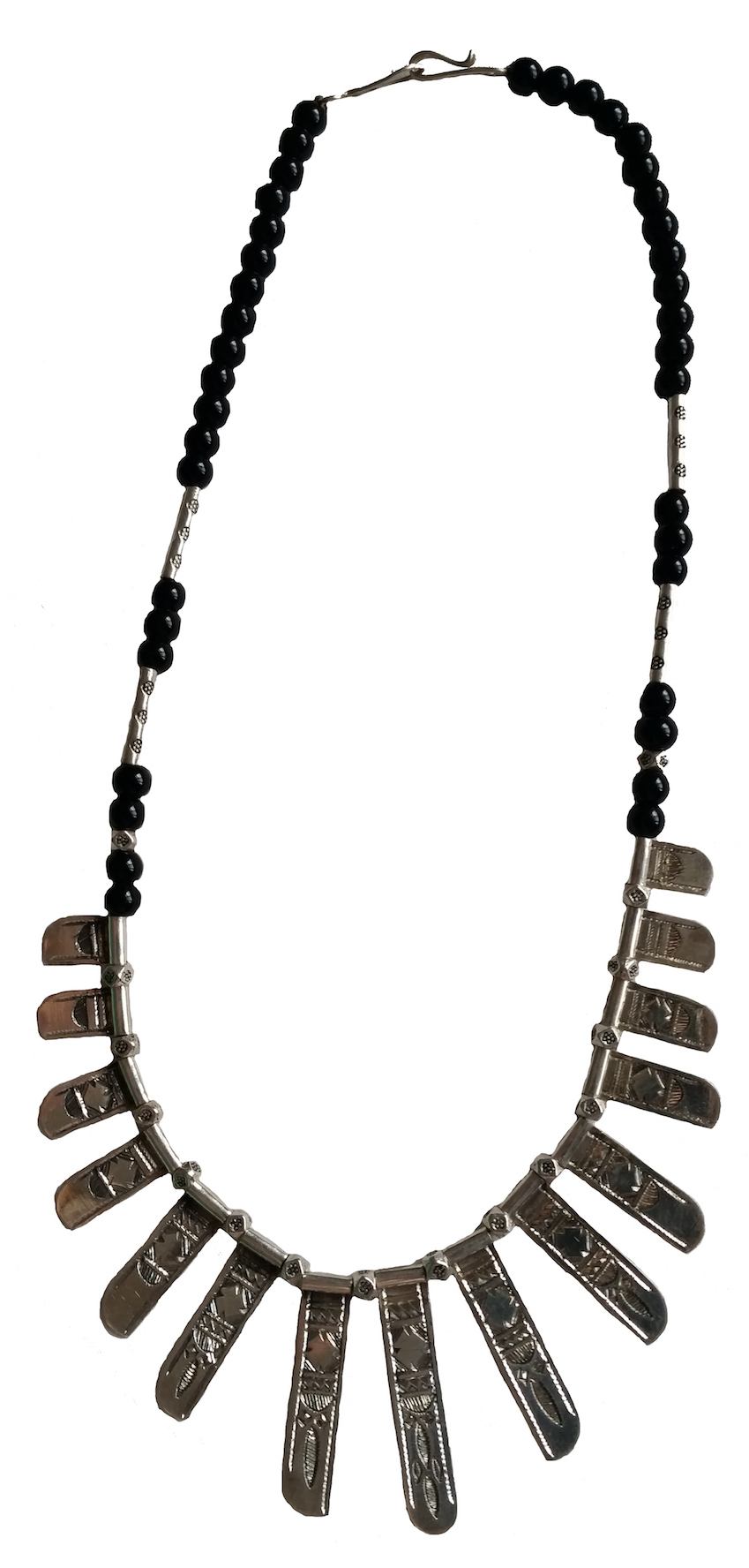 CHAT CHAT NECKLACE Handcast silver with etching by master Tuareg silversmiths finished with glass beads.