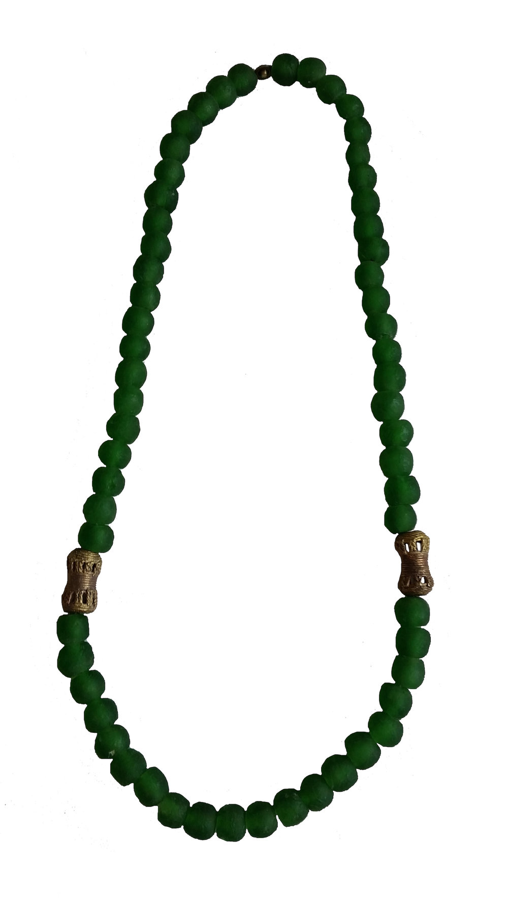 GLASS BEAD & BRONZE NECKLACE   Handmade recycled glass beads from Ghana's Volta region and lost wax cast bronze beads from Ghana's Ashanti region.