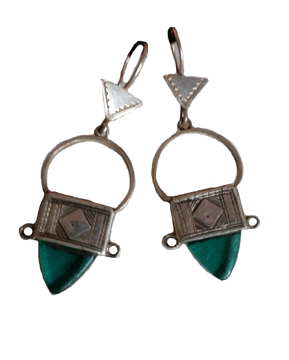 INGAL CROSS EARRINGS   Handcast silver with etching finished with coloured recycled glass.
