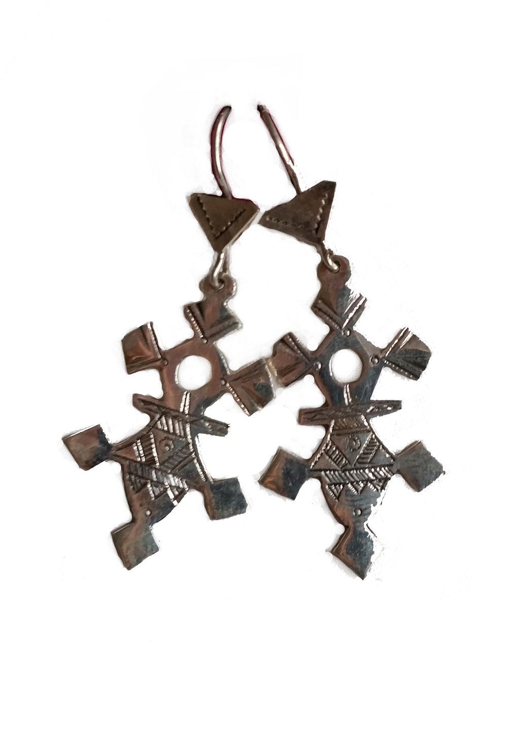 AGADEZ CROSS EARRINGS   Hand cast silver with etching.