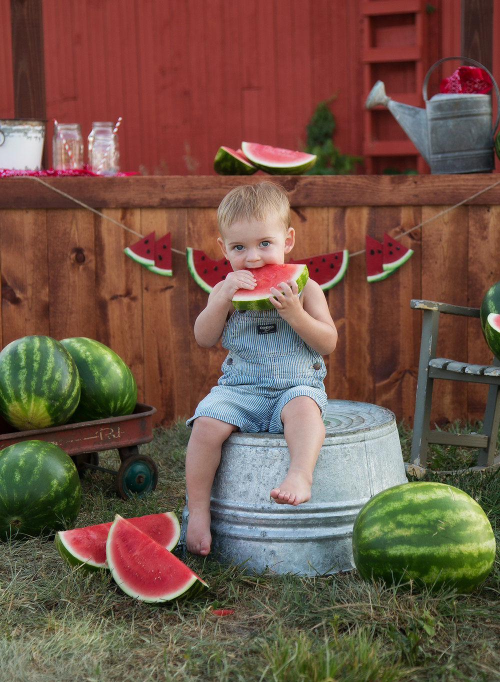 baby boy eating watermelon