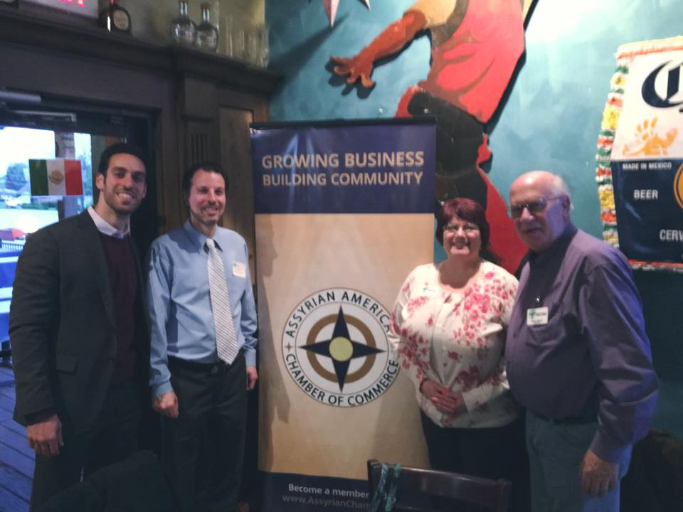 Representatives from the Assyrian American Chamber of Commerce and Morton Grove Chamber of Commerce, left to right: Dr. Timothy Youkhana, Executive Director of the Assyrian American Chamber of Commerce; Michael Atto, Morton Grove Chamber of Commerce; Jeanine Commo, Morton Grove Chamber of Commerce; Richard Block, Morton Grove Chamber of Commerce