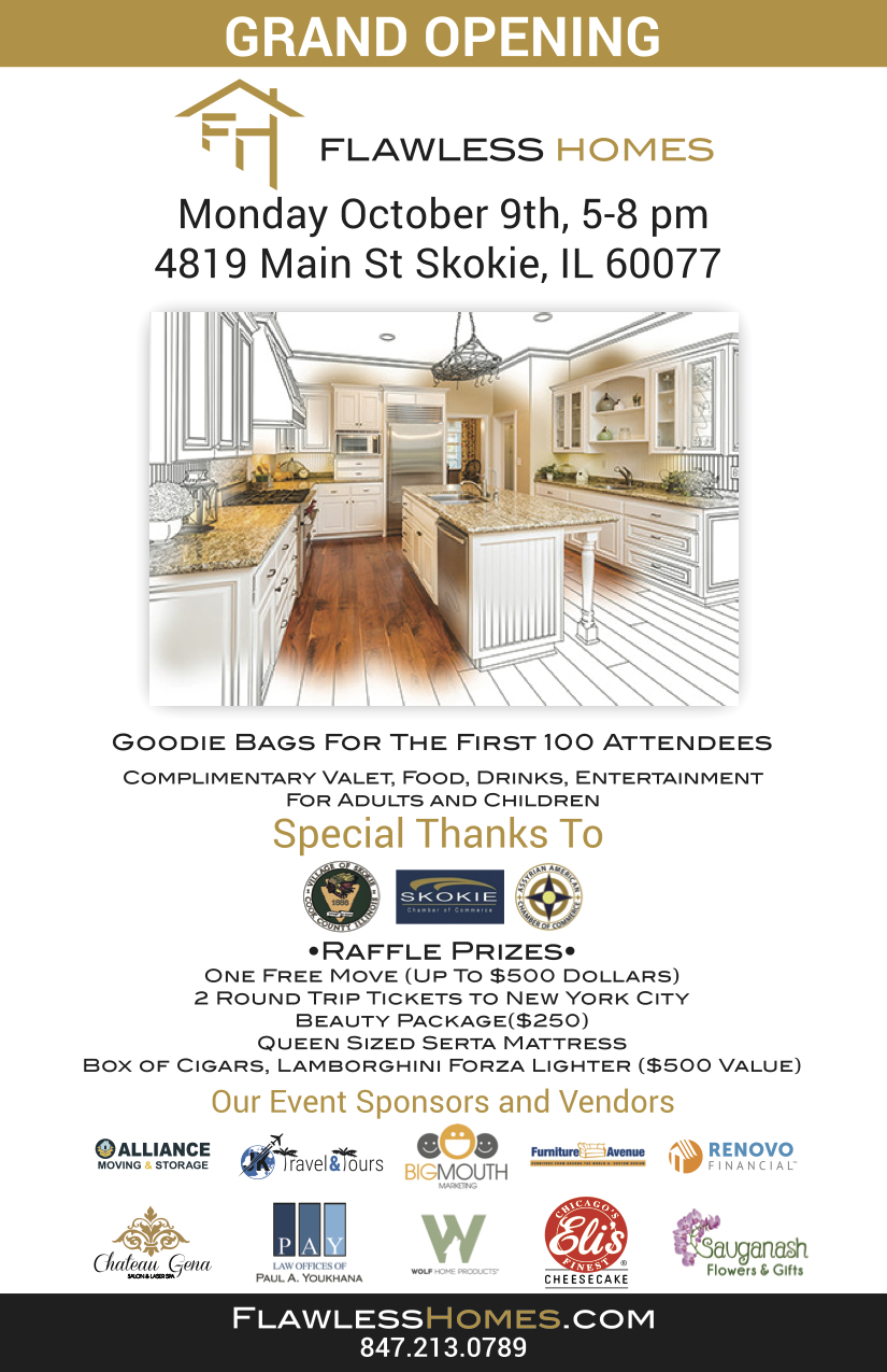 Grand opening for Flawless Homes on October 9th, 2017