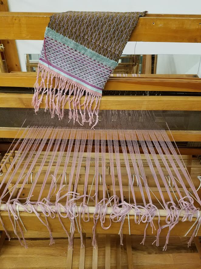 Beautiful weaving by Celia Palmer on a floor loom at TWIL