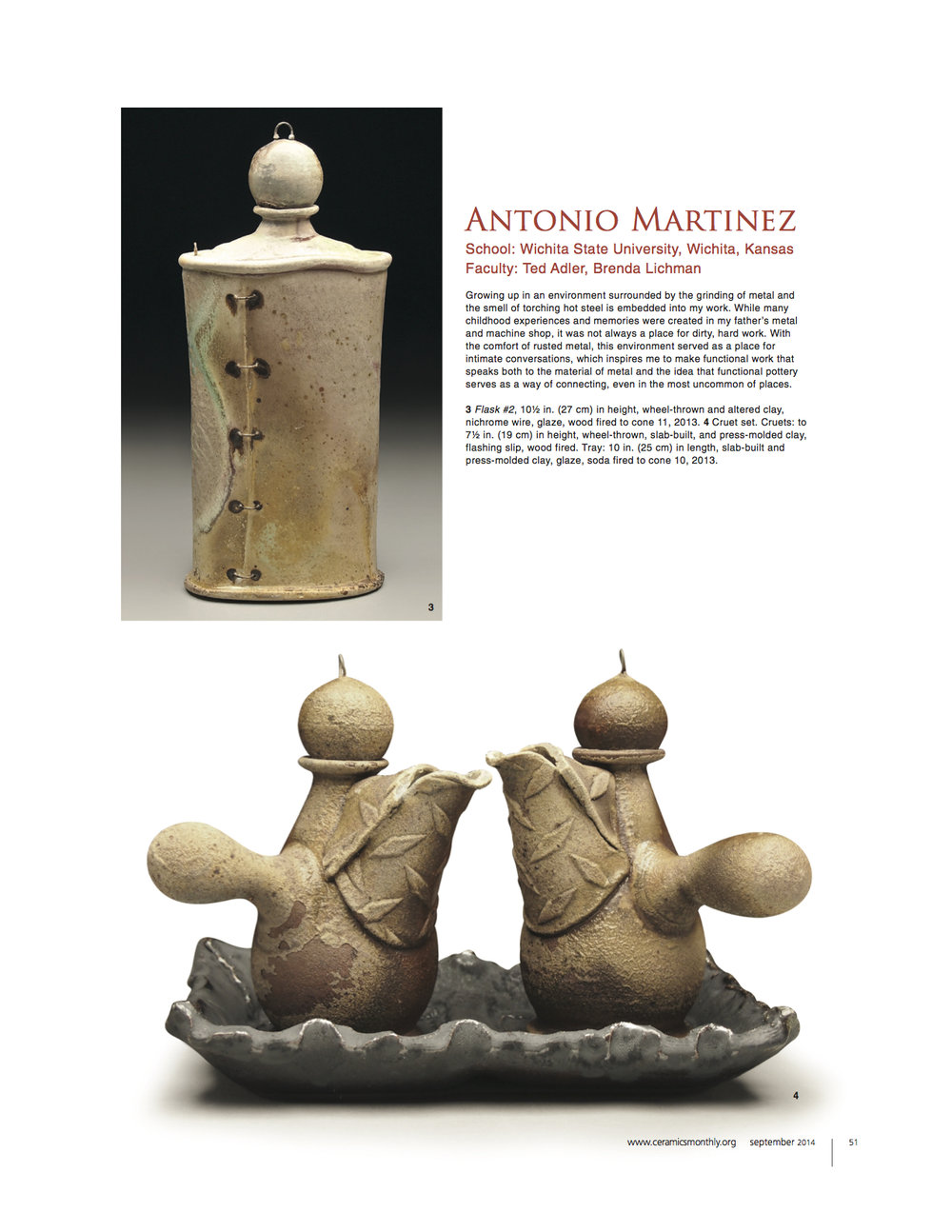 Ceramics Monthly, Issue: September 2014, pg. 51 http://ceramicartsdaily.org/ceramics-monthly/ceramics-monthly-september-2014/