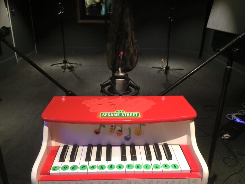 The mic setup for the 'bespoke' Toy Piano.