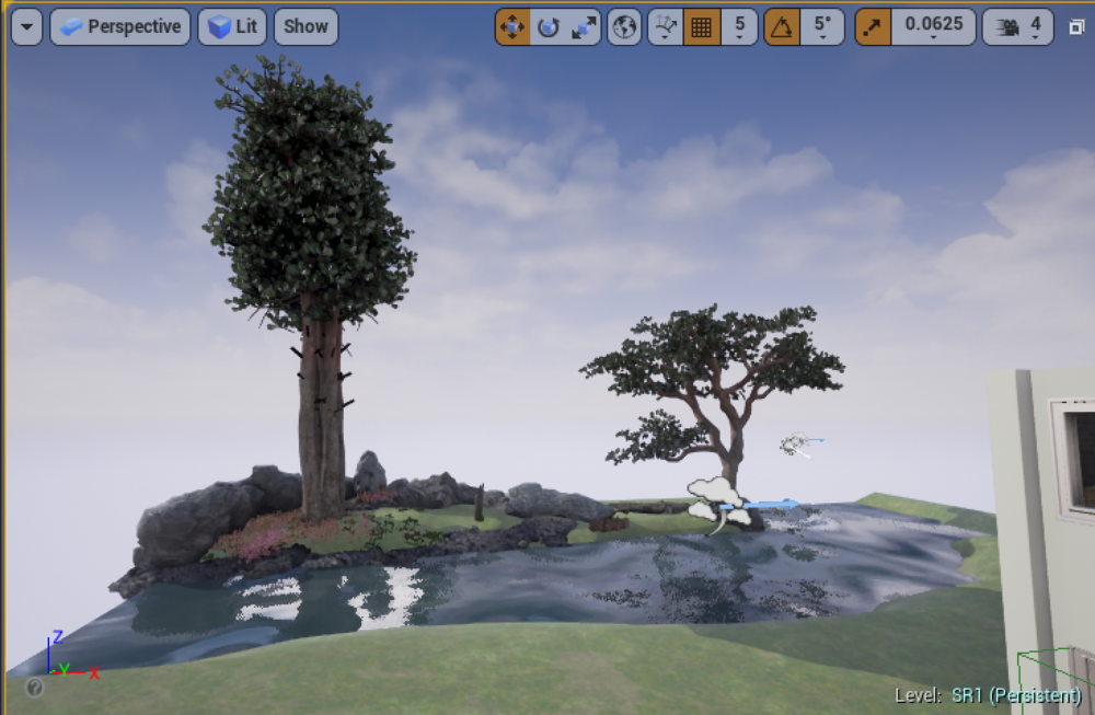 It's a really BIG tree, a Scot's Pine, set next to my river (with ocean water!) and a mini Scot's Pine.