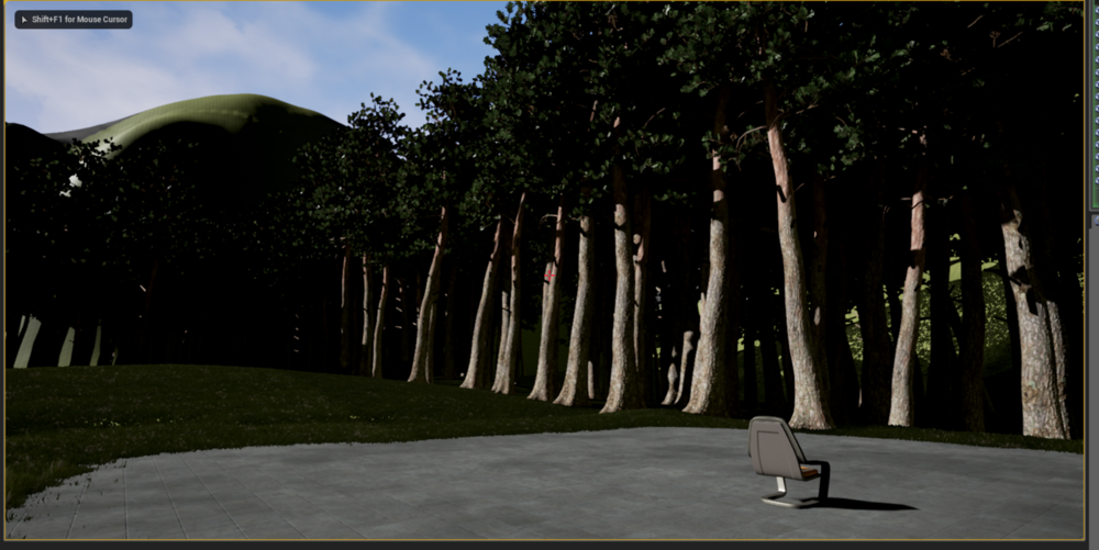 So far, using the landscape painting tool for the grass and path and the procedural foliage generation tool for the MASSIVE trees.
