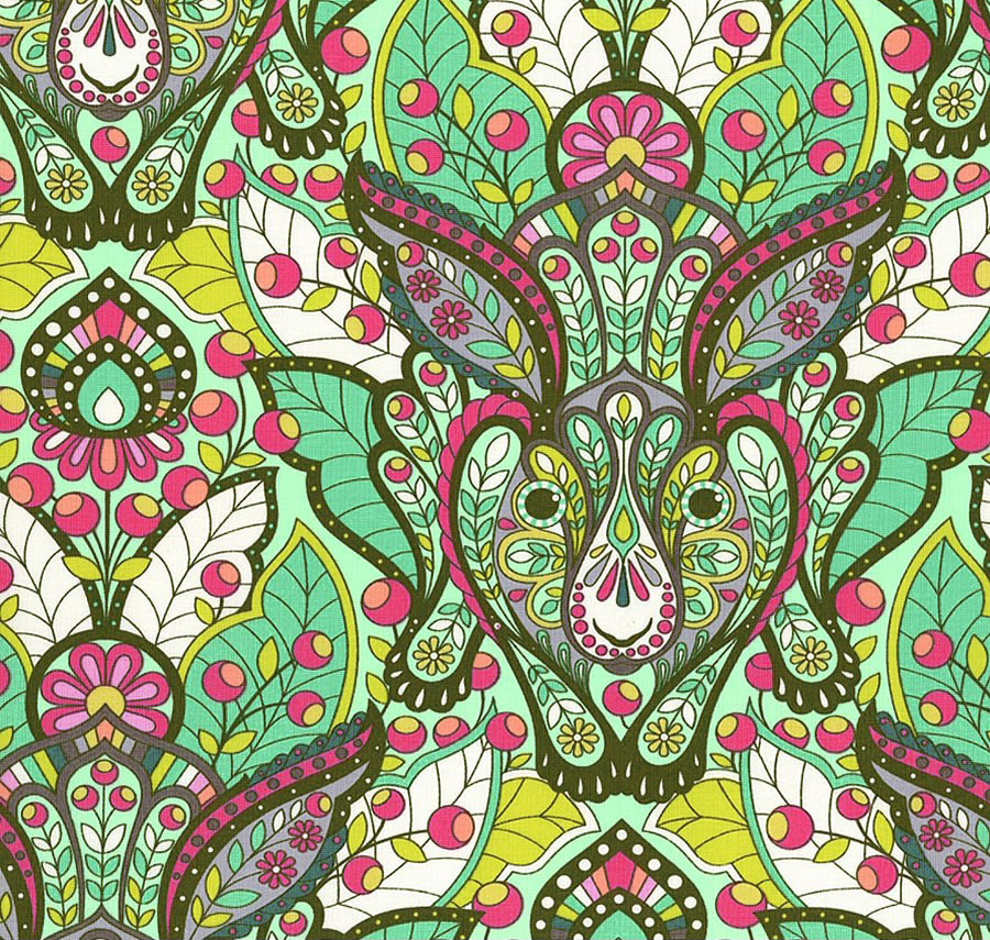 Free Spirit - The Hare, Strawberry Kiwi by Tula Pink 100% Cotton $11.90/yd
