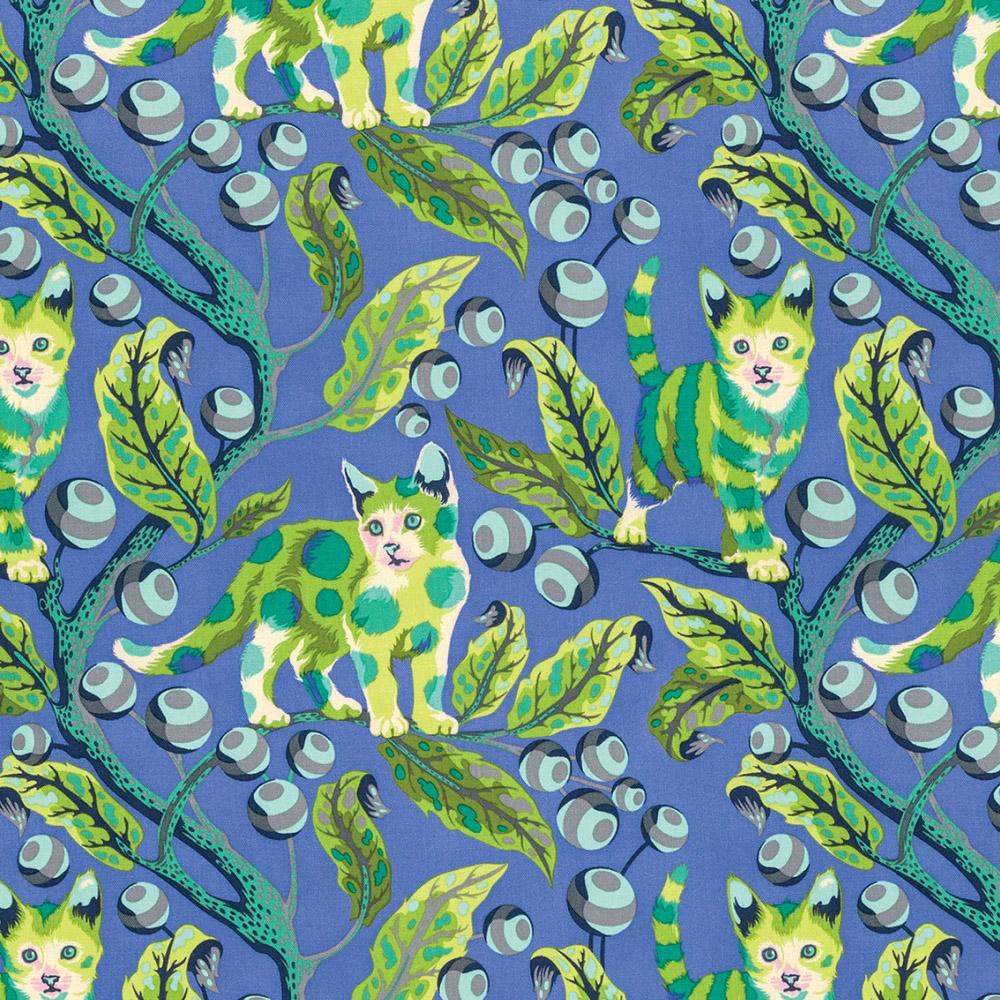 Free Spirit - Disco Kitty, Blue Bird by Tula Pink 100% Cotton $11.90/yd