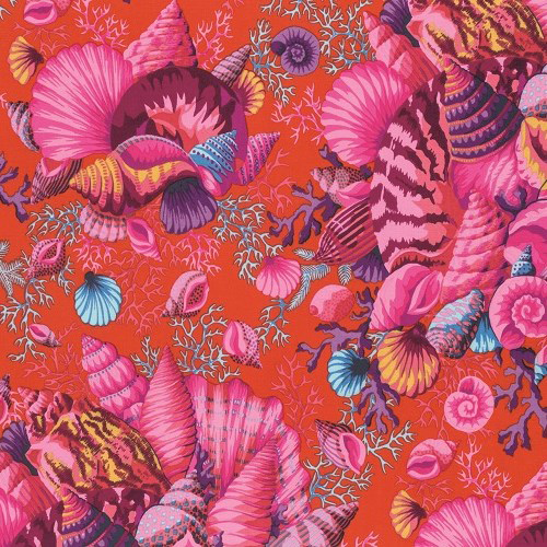 Free Spirit - Shell Bouquet, Red by Philip Jacobs 100% Cotton $11.90/yd