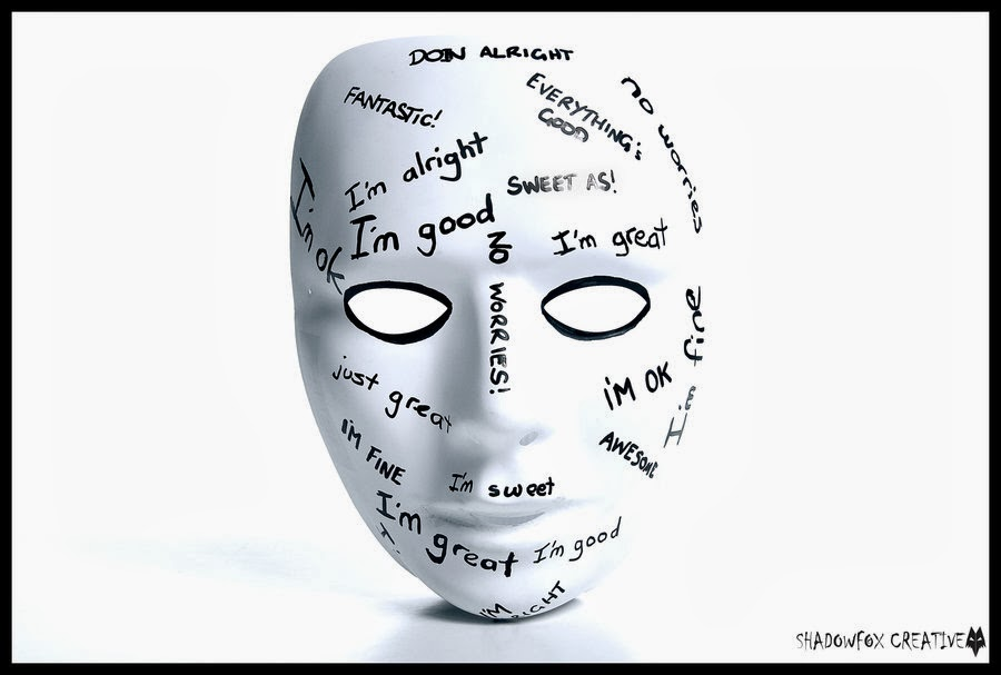 """""""We wear the mask that grins and lies, it hides our cheeks and shades our eyes; this debt we pay to human guile; with torn and bleeding hearts we smile...""""-Paul Laurence Dunbar"""