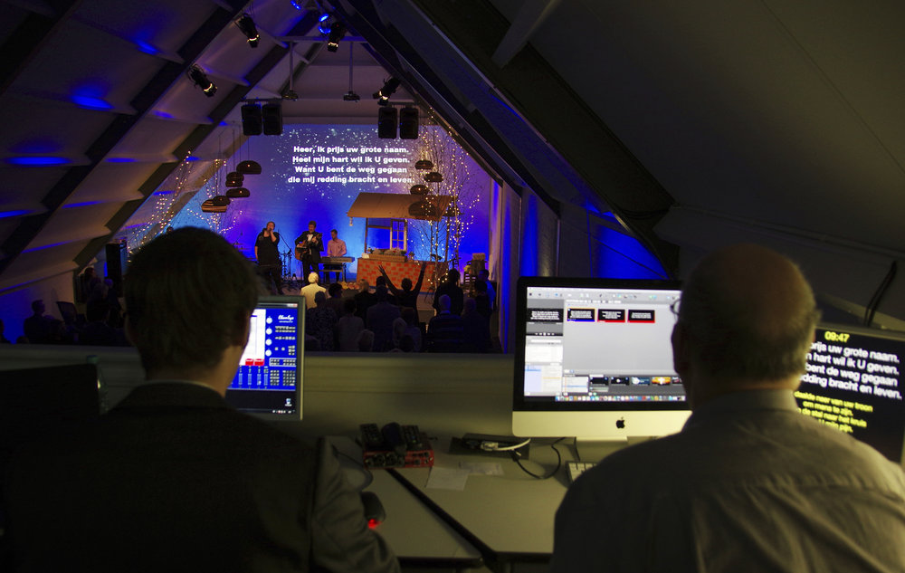 Technicians controlling the concert