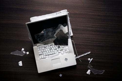 Smashed laptop