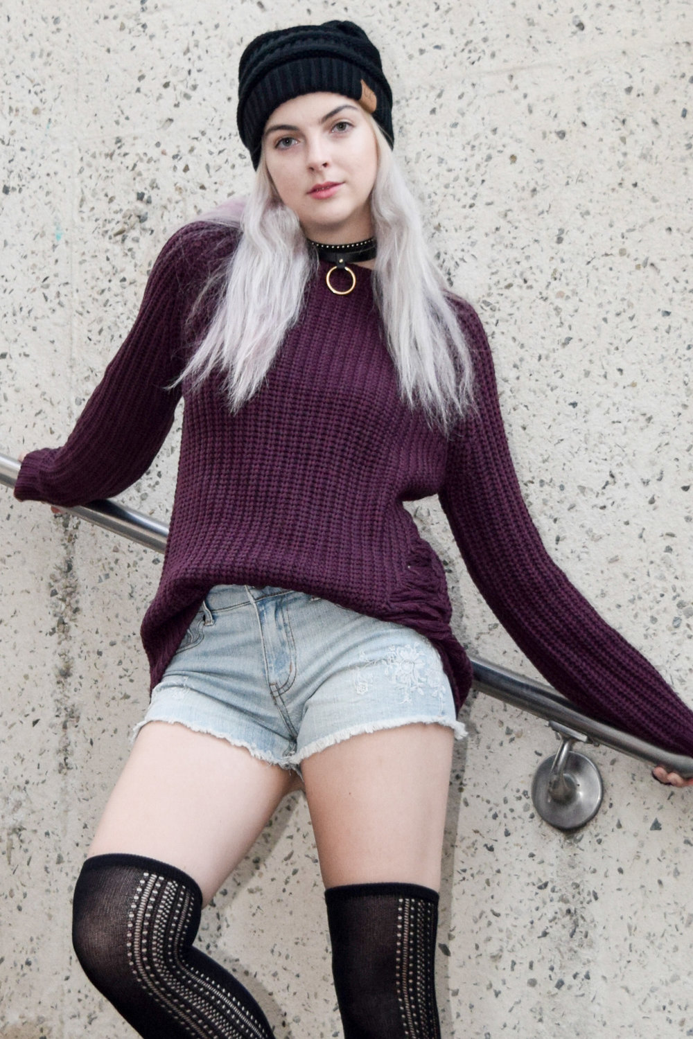 Knit Sweater with Distress