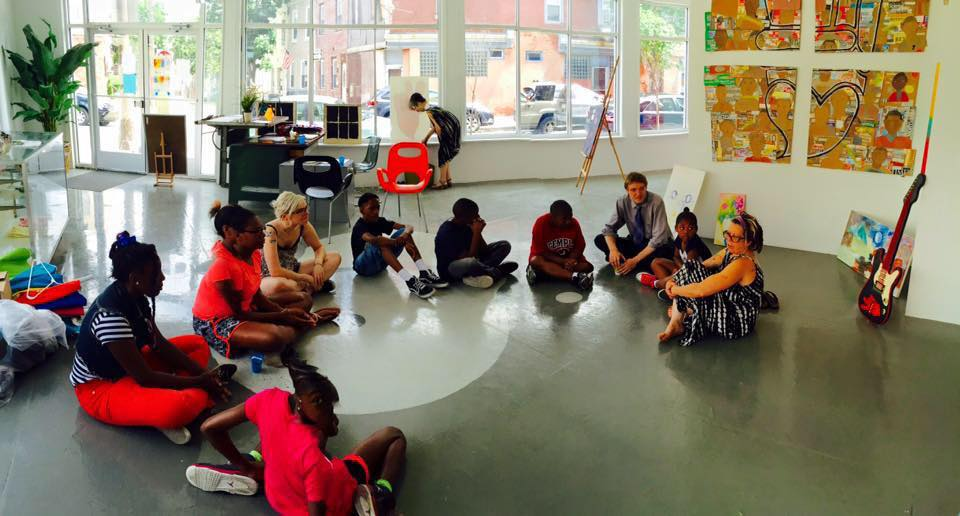 Maria Pandolfi and Ron Kustrup lead a youth workshop at The KIND Institute