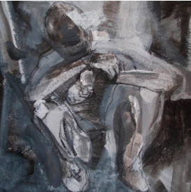 To the Marrow ( a study ) 8 in. x 8 in. 13 in. x 13 in. ( framed )  acrylic, charcoal, on arches huile paper